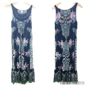Bila Sleeveless Floral Maxi Dress Crochet Neckline